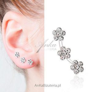 Modne kolczyki srebrne NAUSZNICE ! Kolczyki potrójne kwiatki- białe - 2835352689
