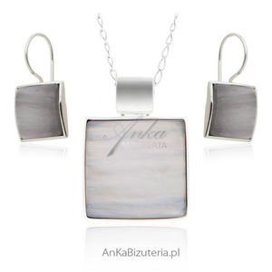 Klasyczna biżuteria srebrna. Komplet biżuterii z jasnym kamieniem - 2835352100