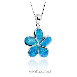 Modna biżuteria srebrna Zawieszka srebrna z niebieskim opalem Zawieszka Koniczynka - 2850406220