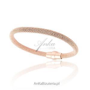 Srebrna bransoletka damska. Biżuteria srebrna pozłacana -różowym złotem - 2852159144