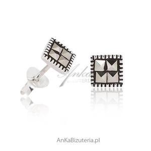 Subtelne Kolczyki srebrne z markazytami. Biżuteria srebrna z markazytami - 2842072773