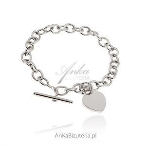 Bransoletka srebrna damska z sercem - 2846332931