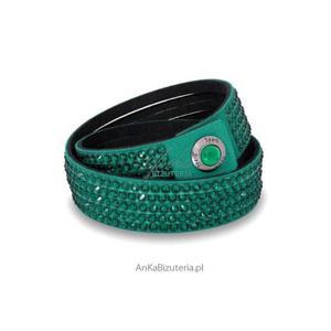 "Bransoletka Swarovski Alcantra ""Emerald"" PIĘKNA! - szmaragdowa - 2835351890"