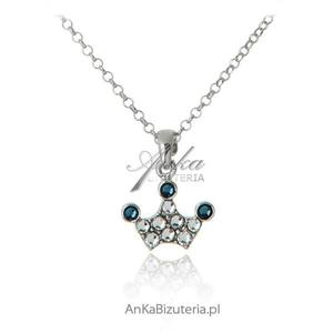 Naszyjnik srebrne z kryształami Swarovski Korona - 2835352730