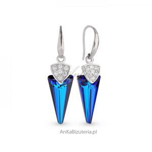 Kolczyki srebrne z kryształami Swarovski w kolorze Bermude Blue - 2835352368