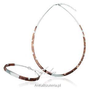 Komplet srebrny z hematytami - brązowy - 2835352569