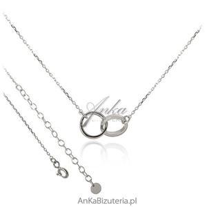Modna biżuteria: Srebrny naszyjnik Dwa kółeczka - 2845883861