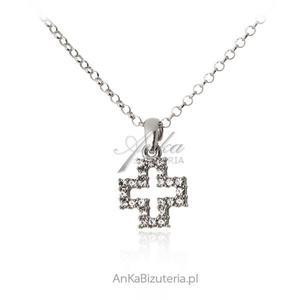 Naszyjnik srebrny z krzyżykiem Swarovski - 2835352840