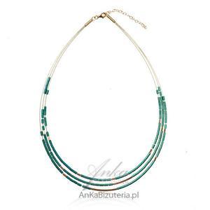 Elegancki naszyjnik srebrny pozłacany - zielony hematyt - 2835352066
