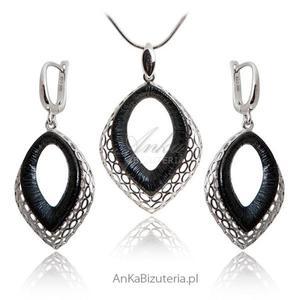 Modna biżuteria - Komplet biżuterii oksydowany - 2835352656