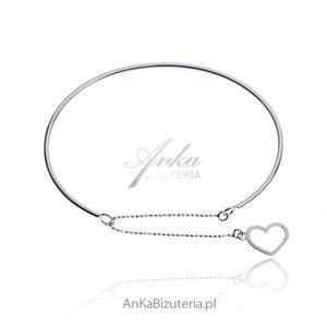 Modna biżuteria: Delikatna bransoletka srebrna z serduszkiem - 2835352679