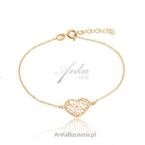 Biżuteria srebrna: Bransoletka złote ażurowe serce - 2853263483