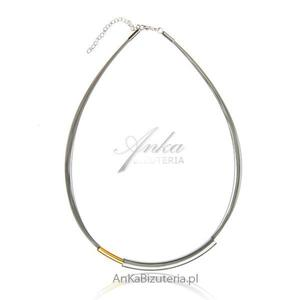 Modna biżuteria srebrna: Naszyjnik srebrny srebrno-złoty - 2843894116