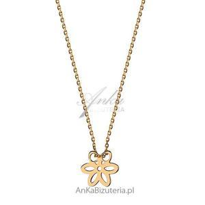 Naszyjnik srebrny pozłacany kwiatek - 2835352785