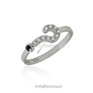 Pierścionek na pół palca Pierścionek srebrny znak zapytania - 2835352998