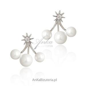 Kolczyki srebrne z cyrkoniami i perełkami - 2835352345