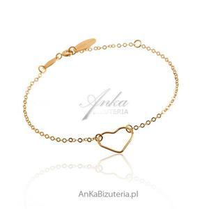 Bransoletka srebrna pozłacana serce - 2835351815