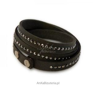 Bransoletka Swarovski Alcantra- czarna - 2835351895