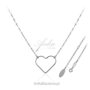 Delikatna biżuteria srebrna - Naszyjnik z dużym serduszkiem - 2835351962