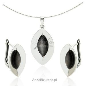 Komplet biżuterii srebrny z szarym uleksytem - 2835352512