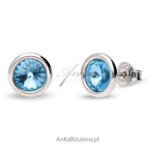 Kolczyki srebrne Swarovski TINY BONBON - Aquamarine - 2835352306