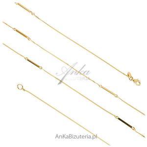 Biżuteria srebrna: Naszyjnik srebrny pozłacany 90 cm - 2835351666