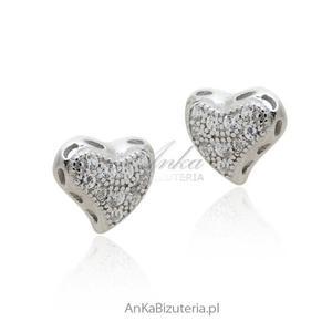 Kolczyki srebrne serduszka z cyrkoniami - 2835352155