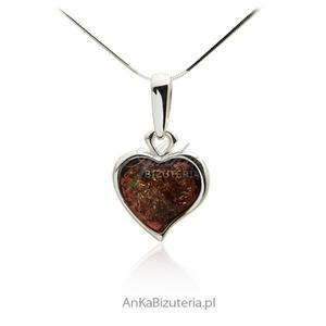 Małe serduszko z bursztynem Biżuteria srebrna - 2835352629