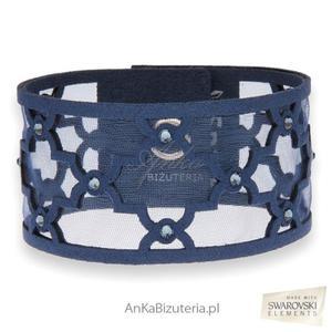 Biżuteria Swarovski granatowa bransoletka z kryształami - 2835351684