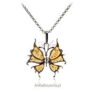Zawieszka srebrna Bursztynowy żółty Motyl - 2835353412