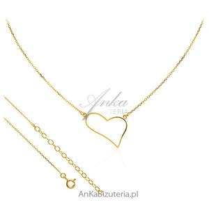 Naszyjnik srebrny pozłacany - Asymetryczne serce - 2835352778