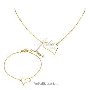 Komplet biżuteria srebrna Naszyjnik i bransoletka z sercem - 2835352453