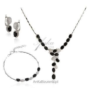 Elegancka biżuteria na prezent - srebro z onyksami i cyrkoniami - 2835352043