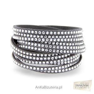 Bransoletka Swarovski Roch Glamour Białe kryształy szara alcantra - 2849833925