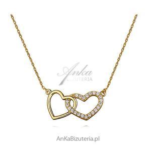 Modna biżuteria - Naszyjnik srebrny pozłacany z cyrkoniami - 2853140433