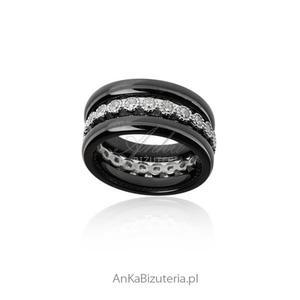 Pierścionek srebrny z czarną ceramiką i cyrkoniami Trzy razem lub oddzielnie - 2835353027
