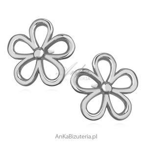 Kolczyki srebrne delikatne kwiatuszki. - 2835352196