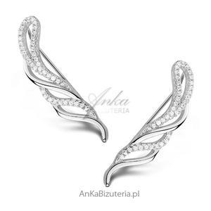 Kolczyki nausznice srebrne z cyrkoniami - 2835352121