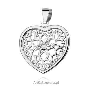 Wisiorek srebrny serduszko ażurowe z cyrkonią - 2835353367