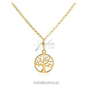 Naszyjnik srebrny pozłacany Drzewko szczęścia - 2835352781