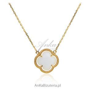Naszyjnik srebrny pozłacany z białą koniczynką - 2835352790