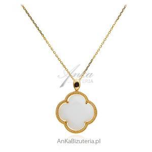 Długi naszyjnik srebrny pozłacany Koniczynka z białym agatem - 2835352021