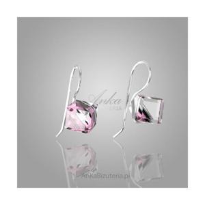 Srebrne kwadraciki kolczyki z kryształami Swarovskiego , kolor fioletowy - 2835353180