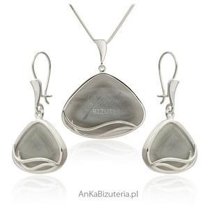 Komplet biżuterii z szarym kamieniem jubilerskim - 2835352526