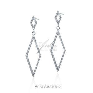 Biżuteria ślubna: Kolczyki srebrne cyrkonie - 2835888721