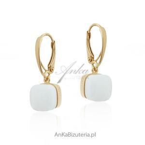 Kolczyki srebrne pozłacane z białym agatem - 2853263505