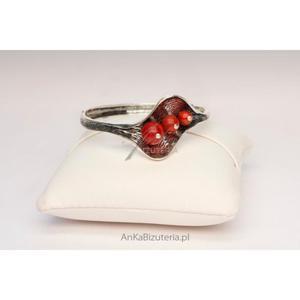 Wyjątkowa Biżuteria Srebrna-Bransoletka LISTEK z koralami - 2835353388