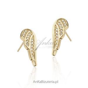 Kolczyki srebrne pozłacane Skrzydła Anioła - 2836349965