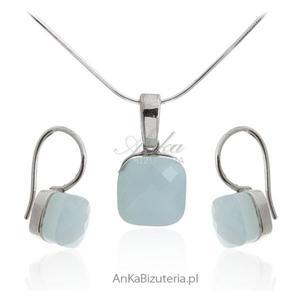 Modna biżuteria dmska - Komplet biżuterii srebrny z agatem - 2837901354