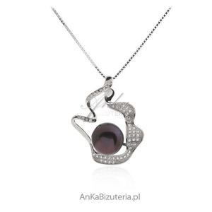 Ekskluzywna biżuteria srebrna - Naszyjnik srebrny z perłą - 2838467186